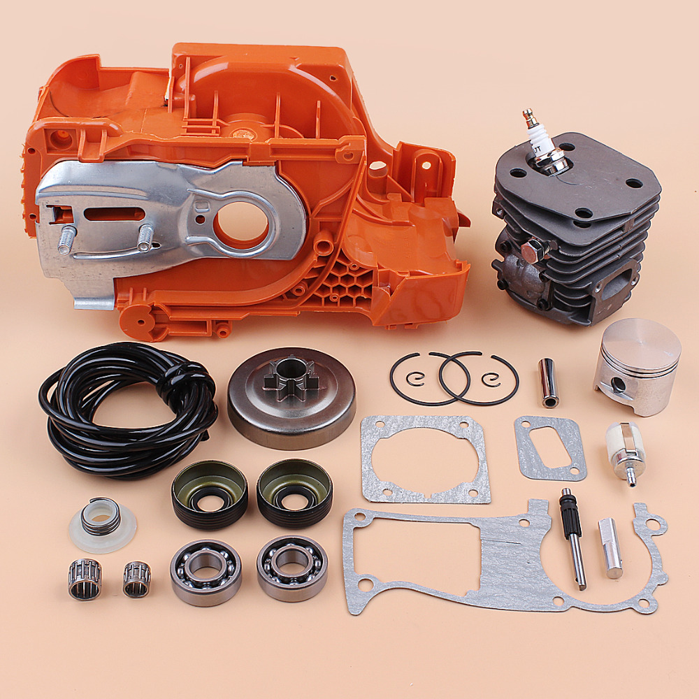 Crankcase Guide Bar Plate Cylinder Piston Clutch Drum Kit fit Husqvarna 350 340 345 Chainsaw Engine and Oil Seal Bearing Gaskets