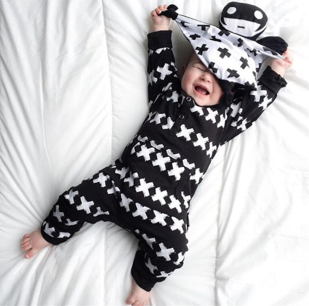 2017 New Fashion baby clothing set unisex Cotton Long Sleeve Cross Pattern Toddler Romper newborn baby boy girl clothes set