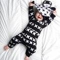 2017 de Moda de Nova roupa do bebê set Algodão unisex Manga Longa Cruz Padrão Criança Romper bebê recém-nascido da menina do menino roupas definir