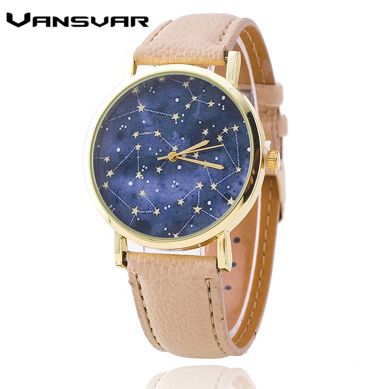 Vansvar Brand Leather Strap Constellations Watch Fashion Casual Women Quartz Watches Relogio Feminino Hot Selling vansvar brand vintage leather human anatomy heart wrist watch casual fashion ladies women quartz watch relogio feminino v46