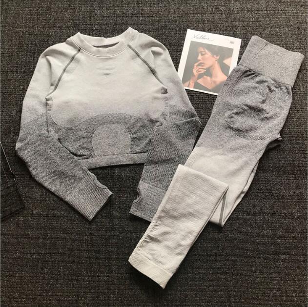 Women Seamless Yoga Set Gym High Waist Ombre Leggings T-Shirts Top Suit Long Sleeve Fitness Workout Sport Running Sportswear Set 2