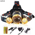 LED Headlamp zoom Headlight 10000LM XML T6 LED zoomable Rechargeabl Head Lamp lighting light 4-mode flashlight torch for Camping