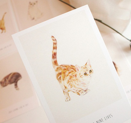 promotional gifts Business cards 30pcs/DIY retro Living Like a Cat postcard set. greeting card