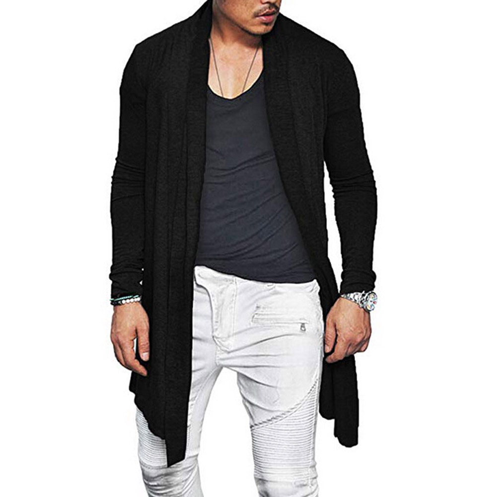 2019 New Men's Long Cardigans Outerwear Autumn Slim Fit Cotton Blend Cardigan Tops Male Black Gray Casual Long Sleeve Cardigan