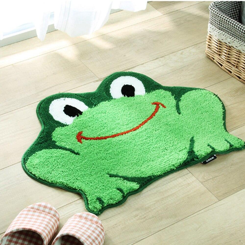 Creative 3D Frog Carpet Non-skid Porch Bath Absorb Water Doormat Funny Green Frog Shape Rug Floor Mat Runner