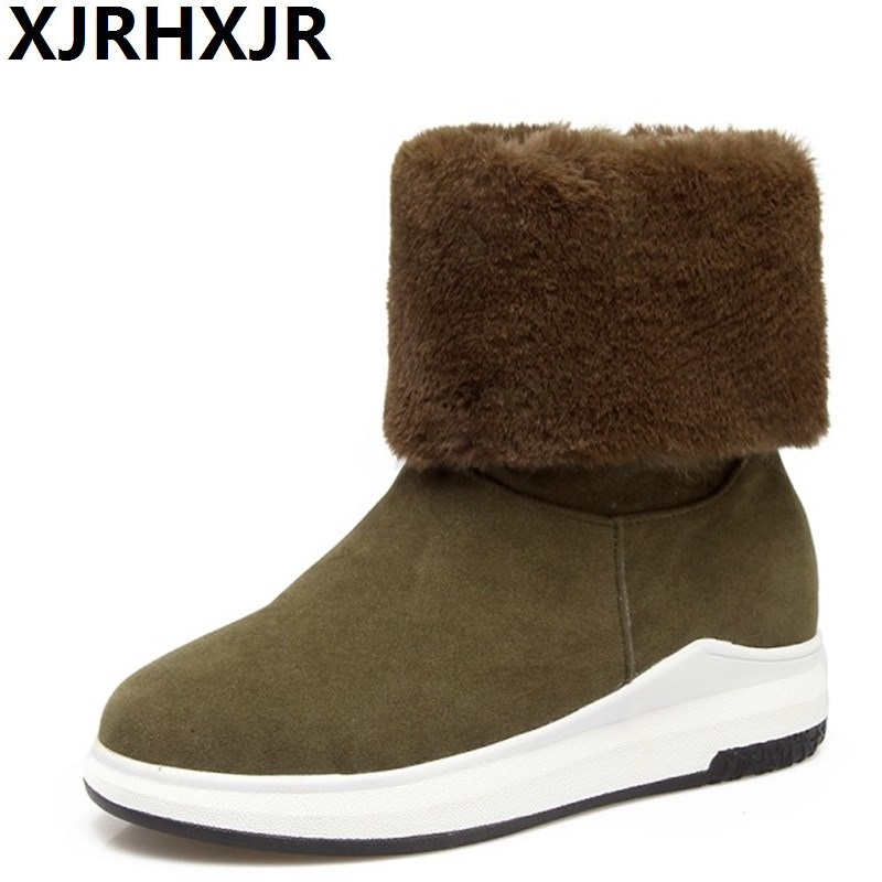 XJRHXJR Winter New Snow Boots Fashion Fur Warm Shoes Woman Ankle Boots Low Heel Round Toe Keep Warm Waking Shoes Green Black