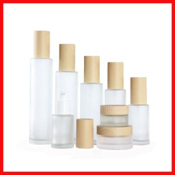 20/30/40/60/80/100/120ML frosted Empty glass bottle/jar lotion/mist spay pump Cosmetic Packing matt clean w wood grain cap