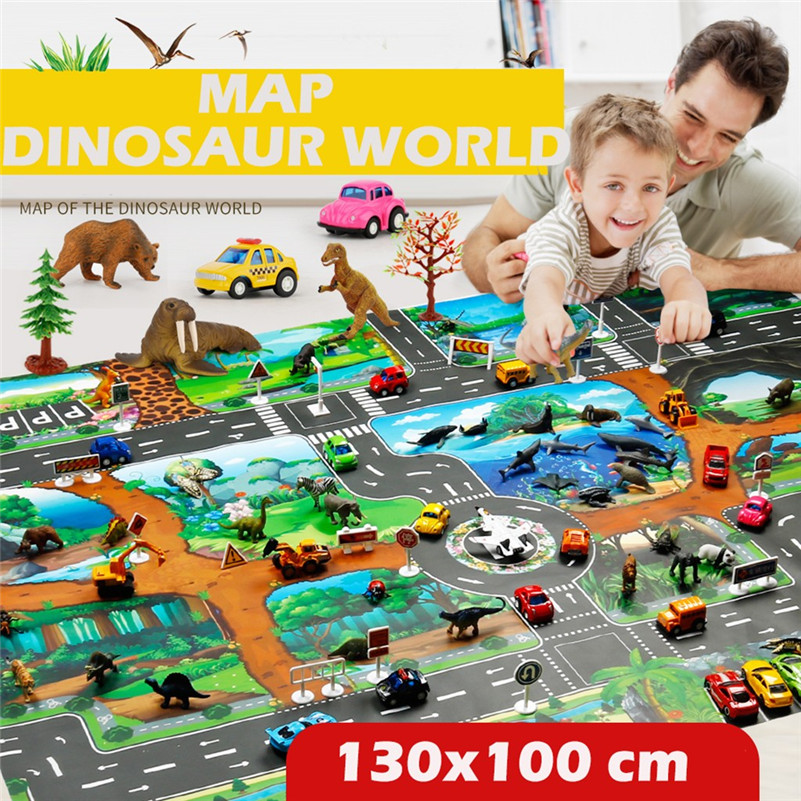 Kids Rug Developing Kids Play Mat Dinosaur World Parking Map Game Scene Map Educational Toys DropShipping Gifts D4