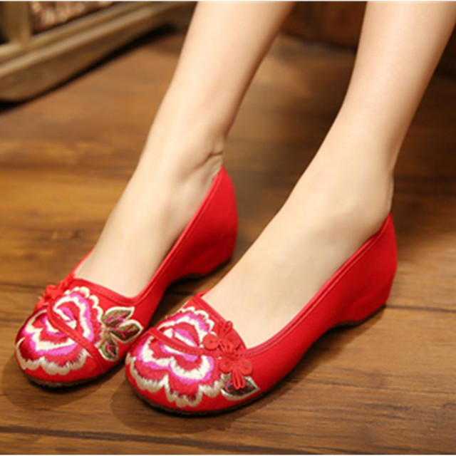 Femme chaussures chaussures brodées Rouge wzjPo0xr6