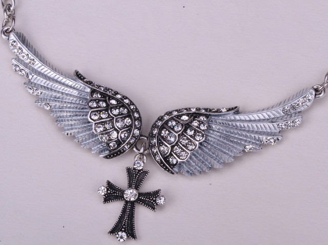 Angel wing cross necklace women biker jewellery gifts W/ crystal adjustable antique silver plated