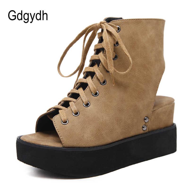 Gdgydh Peep Toe ฤดูใบไม้ผลิรองเท้าผู้หญิง Wedges รองเท้ารองเท้าส้นสูงรองเท้าสุภาพสตรีรองเท้าลูกไม้ขึ้นด้านข้างซิปสไตล์โรมสไตล์ฤดูร้อนสบาย