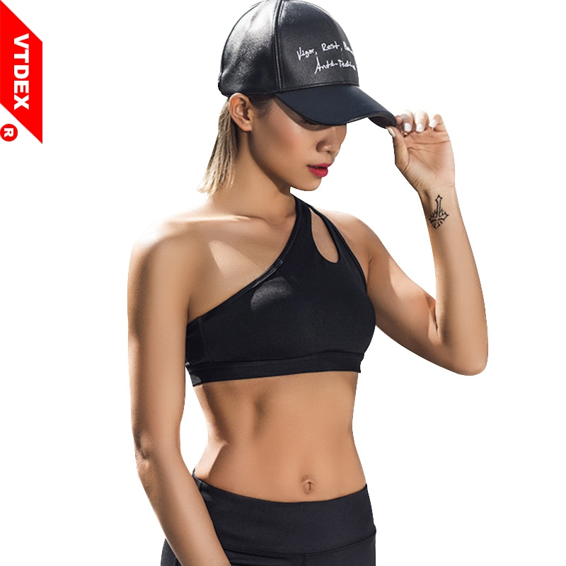 Sexy Sports Bra 2018 Women Single Obilque Shoulder Strap Fitness Bustier Vest Solid Shockproof Yoga GYM Padded Tops Sportswear