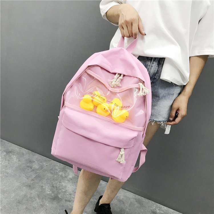 New Transparent Small Yellow Duck Backpack Korean Version Harajuku Girl High School Student Bag Female Tide Backpack