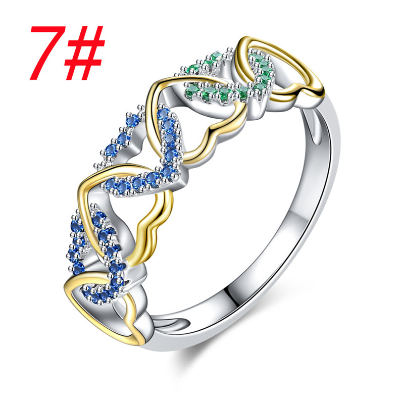 Fashion Heart Rhinestone Rings Female Zircon Heart Rings For Women Wedding Party Rings Jewelry Best Gift in Rings from Jewelry Accessories