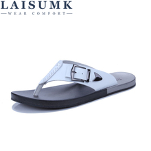 LAISUMK Brand New Arrival Slippers High Quality Handmade Cow Genuine Leather Summer Shoes Fashion Men Beach Sandals Flip Flops