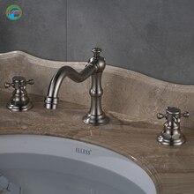 Классический ванной кран Две ручки и одно отверстие Матовый никель стиль горячей и холодной воды