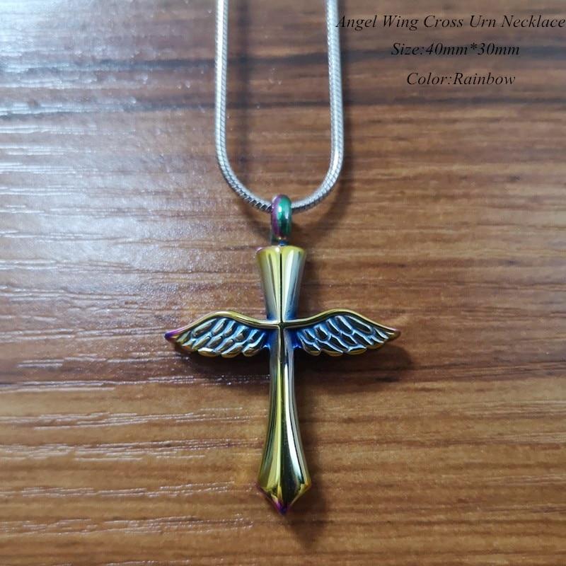 IJD9654 en gros pas cher prix en acier inoxydable crémation bijoux pour cendres, ange aile croix souvenir mémorial urne collier - 3