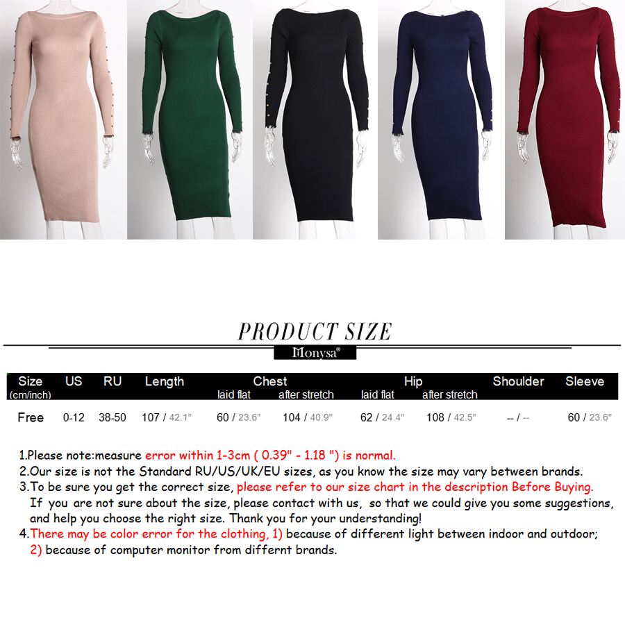 Knitted Sweater Dress Autumn 2019 New Fashion Button Long Sleeve Pencil Dress Women Casual Knee Length Bodycon Dress Black Red