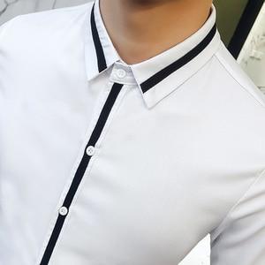 Image 5 - Camisa Social Masculina คุณภาพสูงฤดูใบไม้ผลิเสื้อชุดเจ้าบ่าว Tuxedo เสื้อผู้ชาย SLIM FIT แขนยาวสังคมเสื้อ