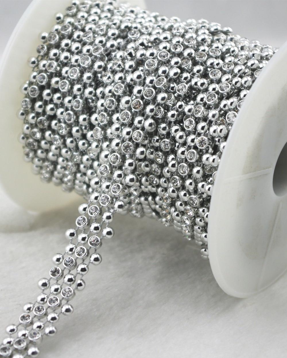 15mm Silver 6rows rhinestone Chain Sewing Costume Applique Cake Decoration  LZ163 10eb2bf6316c