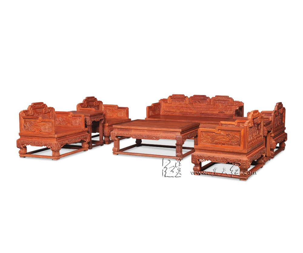 Chinese Royal Rosewood Furniture Sofa Bed Set 1+2+3 Seats Triple Chair Solid Wood Tea Table Set Classical Antique Luxury Carving classical rosewood armchair backed china retro antique chair with handrails solid wood living dining room furniture factory set