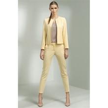 Jacket Pants Yellow Women Business Suits Office Uniform Designs Women Trouser Suit Female Formal Work Wear 2 Piece Slim Blazers