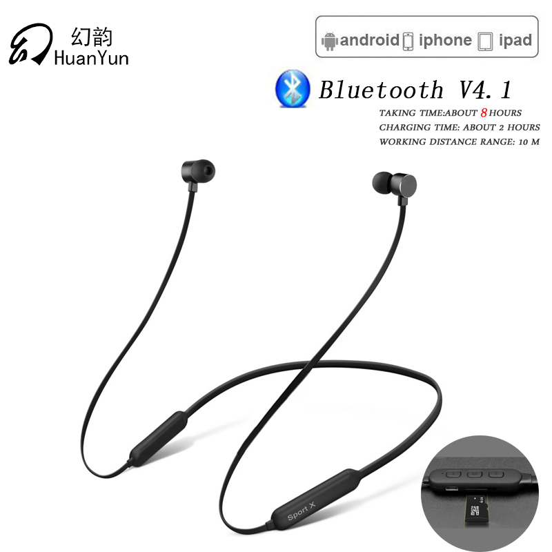 Huan Yun Wireless Bluetooth Earphone with TF Card Slot Neckband Sport Magnetic Headphone Headset Stereo Bass with Mic For Xiaomi mllse anime gundam neckband bluetooth headphone earphone wireless stereo sport headset for iphone samsung xiaomi oppo vivo pc