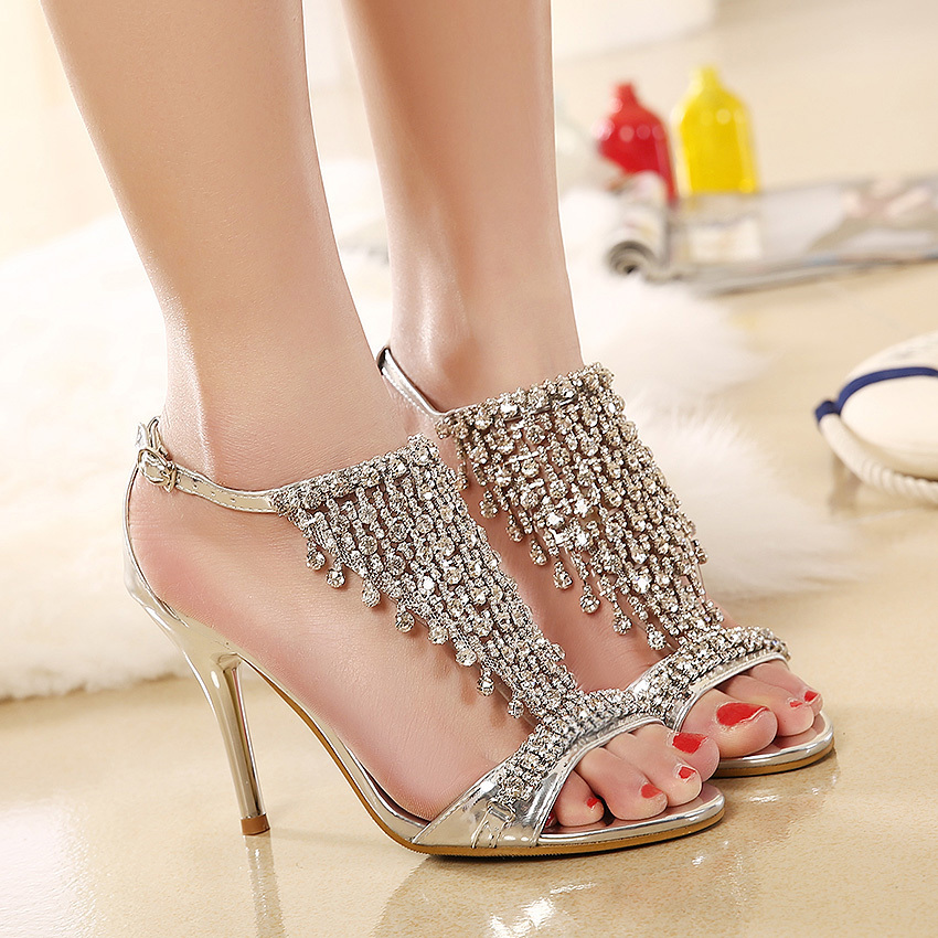 New Design Ladies Sexy Stilettos High Heels Women Shoes Pumps Faux Rhinestone Wedding Party Sandals Silver Gold 4