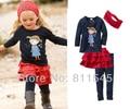 Nuevo 2015 otoño nuevo estilo de las muchachas 4 unidades sistemas T-shirt + Skirt + Pants + diademas para el bebé traje ropa para niños niños ropa