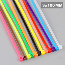 The lowest price 3X100MM 100pcs/Pack Colour Nylon cable ties 12 colors Self locking  Free shipping