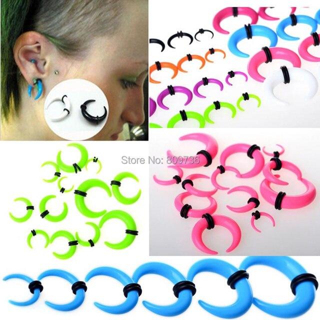Lots 12pcs Acrylic Ear Taper Gauge Horn Expander Stretcher Tunnel Plug Piercing Body Jewelry