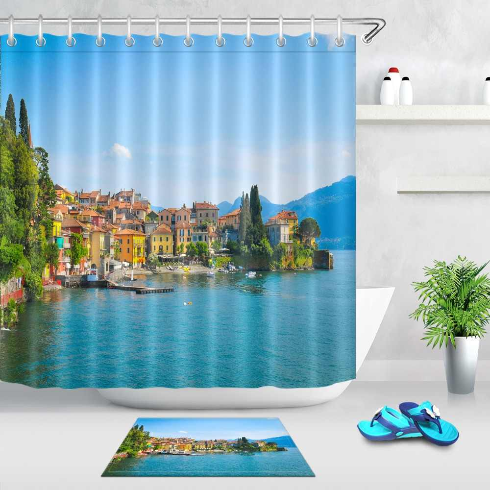 Lb View Of Lake Como Europe Shower Curtain Scenic With Mat Set Waterproof Bathroom Luxury Custom Fabric For Nature Bathtub Decor Shower Curtains Aliexpress