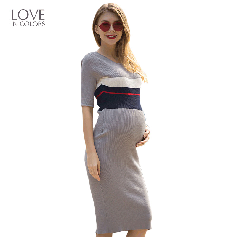 Loveincolors New Fashion Maternity Women Dress Summer Sheath Striped Breastfeeding Brief Soft For Pregnancy Women Clothes
