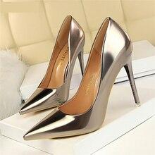 BIGTREE Women Pumps Shoes New Patent Lea