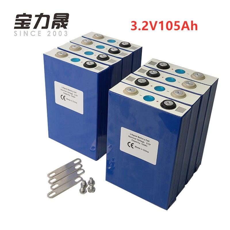 2019 NOVA 100Ah 8PCS 3.2V lifepo4 CÉLULA de bateria 3000 CICLO 24V105Ah para EV RV bateria diy solar UPS ou FedEx LIVRE de IMPOSTOS DOS EUA e DA UE