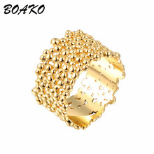 купить BOAKO Simple Couple Rings Unique Bark Design Gold Ring for Women Female Wedding Engagement Rings Fashion Party Jewelry Anillos по цене 53.46 рублей
