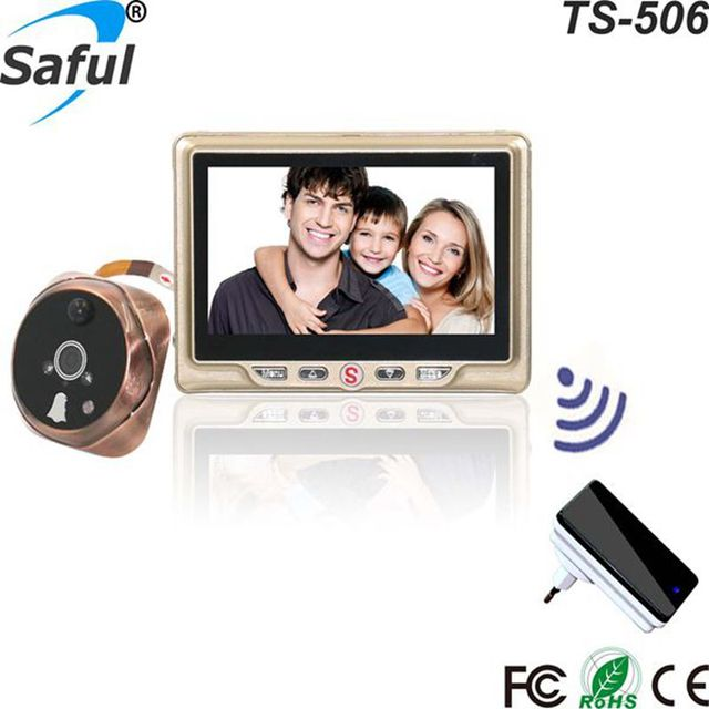 Special Price Saful Smart Home Digital Wireless Door Video-eye Camera with Motion Detect Video Recording Door Peephole Viewer Monitor Doorbell