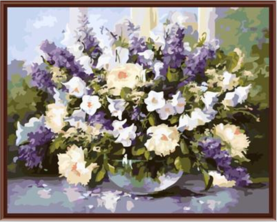 ▽Cuadros decoracion 40*50 cm lavanda pintura por números pintado a ...