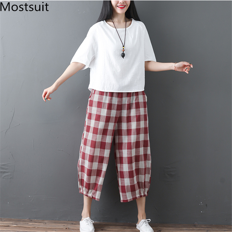 2019 Cotton Linen Two Piece Sets Women Plus Size Half Sleeve Tops And Wide Leg Cropped Pants Casual Vintage Women's Sets Suits 43
