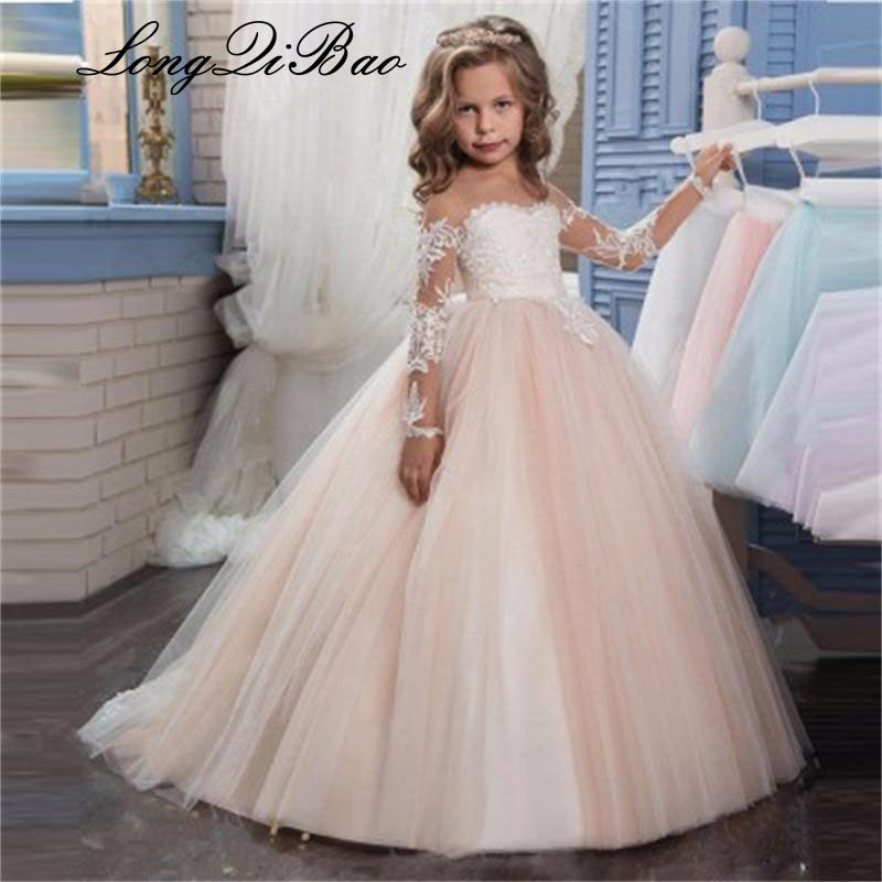 2-13 Year Old 2018 Fancy Flower Baby Girl Dress Child Long Sleeves Butterfly Pink Mesh Ball Gowns Kids Holy Communion Dresses2-13 Year Old 2018 Fancy Flower Baby Girl Dress Child Long Sleeves Butterfly Pink Mesh Ball Gowns Kids Holy Communion Dresses