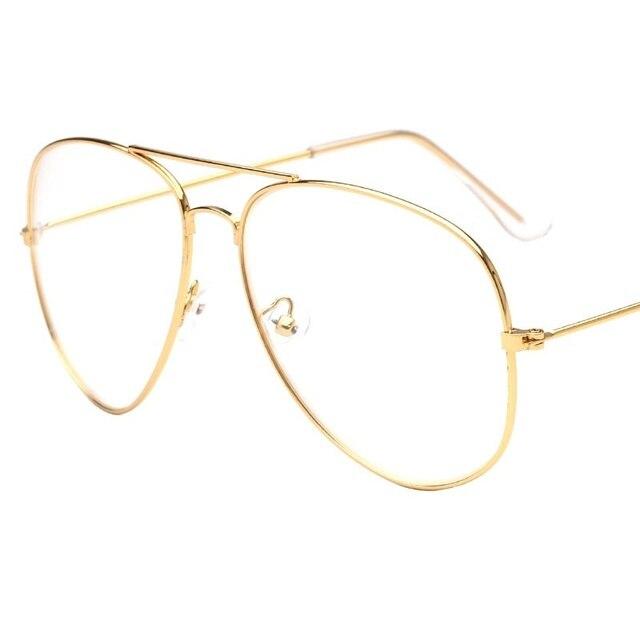 2017 Brand Helder Glazen Vrouwen Classic Optics Bril Luchtvaart Legering Frame Transparante Lens Bril Mannen Zonnebril Vrouwelijke Oculos