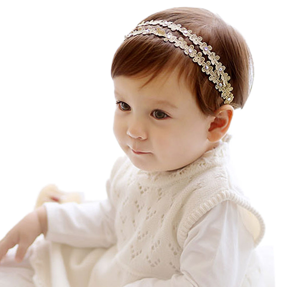 2pcs/lot Gold/silver Baby Headband Fashion Hair Band For Baby Girls Headbands Flowers Children Hair Accessories Baby Hairband