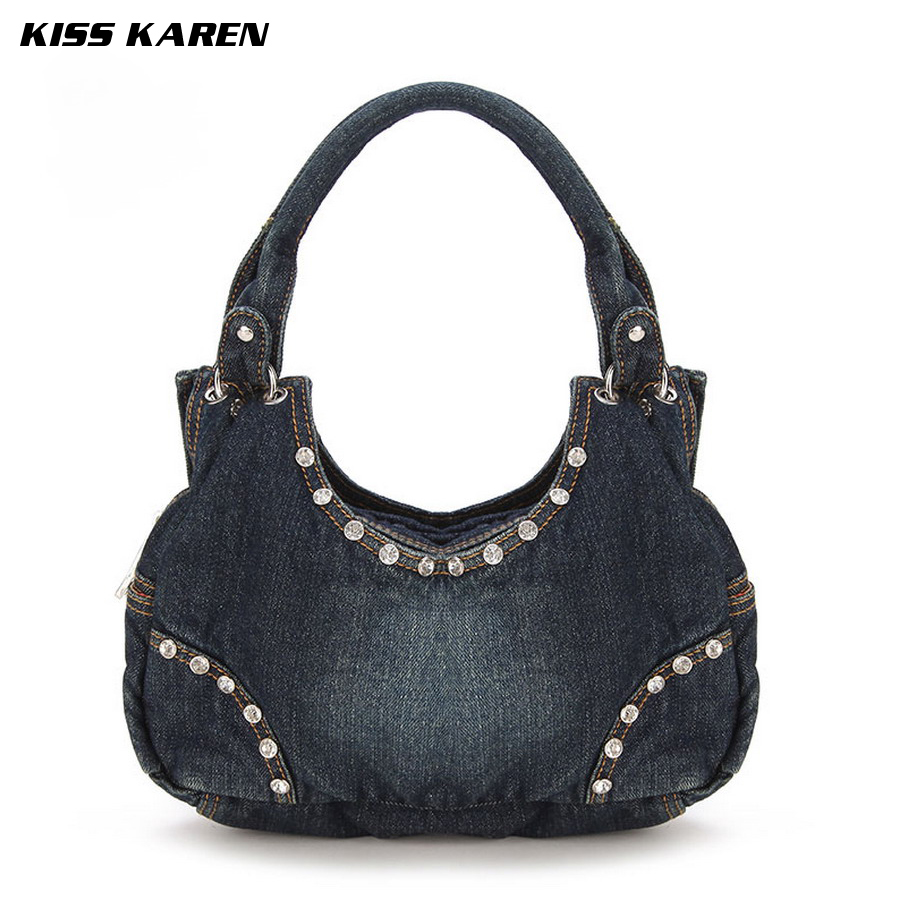 ФОТО KISS KAREN Faux Diamonds Rivets Hobos Bag Fashion Women Totes Lady Handbags Jeans Women Shoulder Bags Blue Denim Women Tote bag