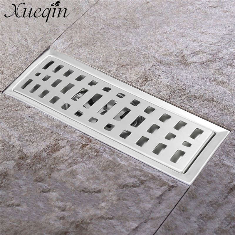 Xueqin 20x10cm Stainless Steel Long Drainer Invisible Bathroom Floor Drain Waste Grate Shower Drainer Kitchen Home Floor Drain brushed stainless steel long bathroom floor drain waste great shower drainer rectangle floor waste drainer pop up drain