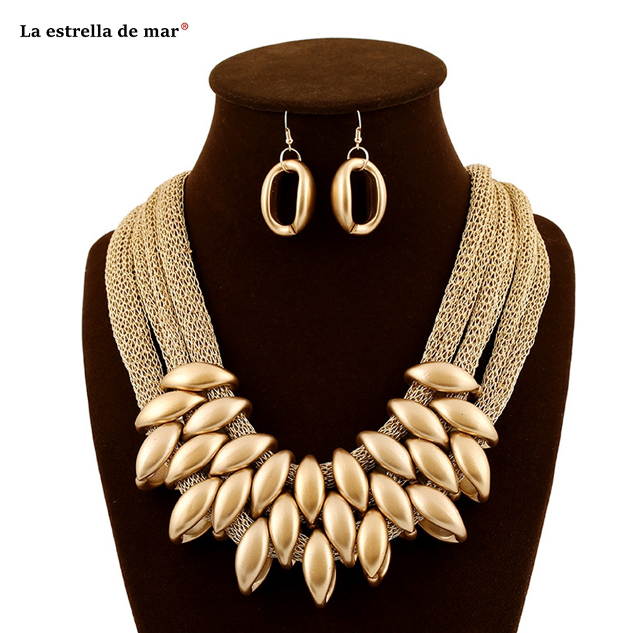 Jewelry sets2018 new gold acrylic fringed cotton rope set necklace with accessories wholesale women earring and necklace sets