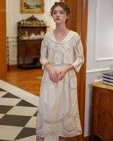 Весеннее женское винтажное элегантное белое хлопковое женское платье миди в стиле ретро Ограниченная серия античное длинное платье ручной