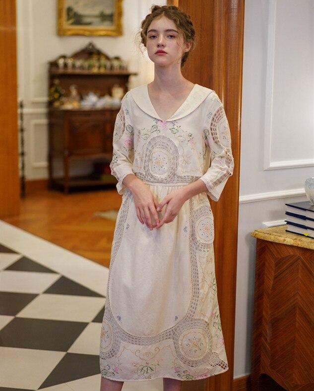Printemps femmes Vintage élégant coton blanc robe Midi dames rétro édition limitée Antique à la main broderie Crochet longue robe