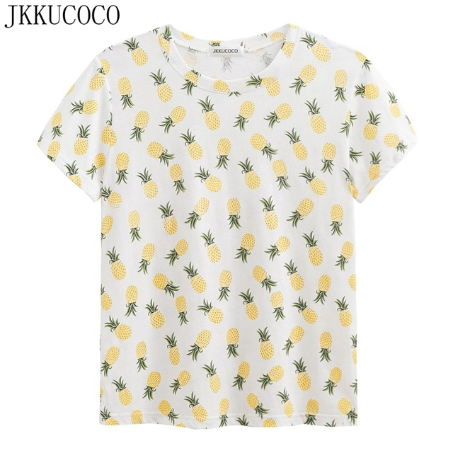 3ae7551c2076 JKKUCOCO Little Pineapple Print tees Short Sleeve O-neck Cotton T-shirt  Women t