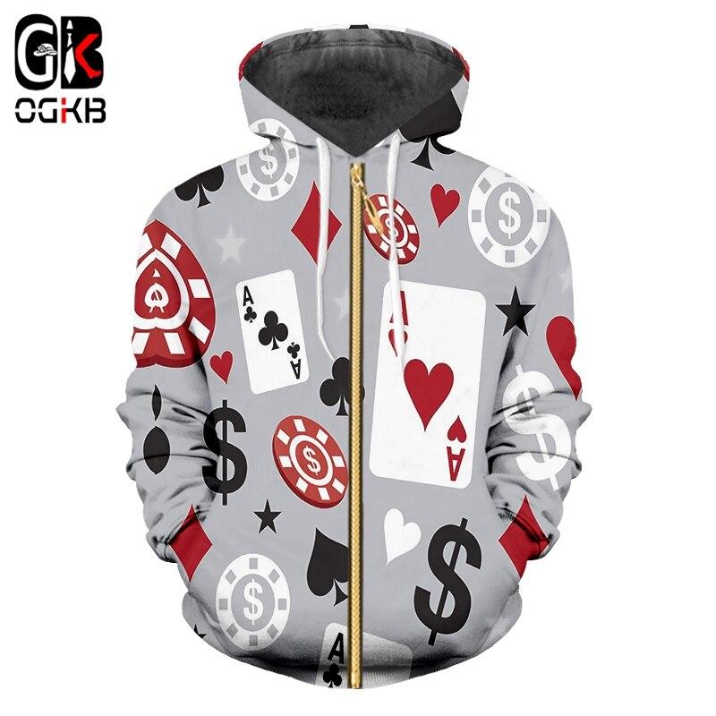 OGKB Hoodies Men/women Hooded Casual Winter Coat Print Poker 3d Sweatshirts Coat Zipper Cardigan Hoody Long Sleeve Hooded Jacket