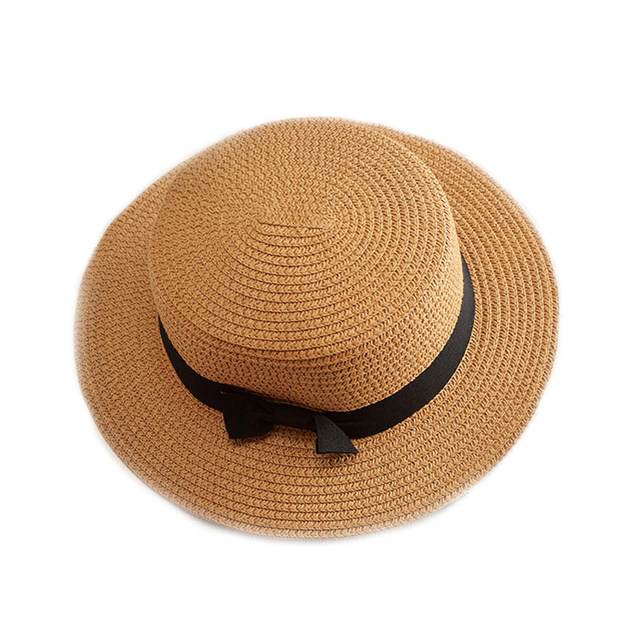 3dc9e1fc Lady Boater sun caps Ribbon Round Flat Top Straw beach hat Panama Hat  summer hats for